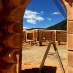 Garage we are currently building for wonderful people in Wyoming using Flared Character Western Red Cedar Logs.