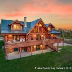 Custom Western Red Cedar Log Cabin Home Twilight