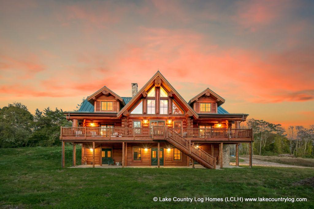 Custom Western Red Cedar Log Cabin Home Twilight