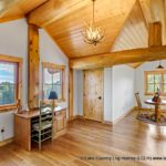 Custom Western Red Cedar Log Cabin Home Upper Floor Post and Beam Office