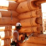 Cutting a Wall Slot for intersecting interior framed wall in a Western Red Cedar Log Home