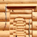 Douglas Fir Log Home Window and Archways in Log Walls