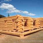 Douglas Fir Log Home with Staggered Ends for clients in Alberta