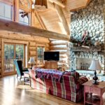 Great Room of a Handcrafted Western Red Cedar Log Cabin House in Connecticut