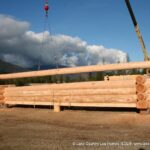 Hand Crafted Western Red Cedar Log Cabin Home Under Construction at Our Yard in British Columbia for Delivery to Oregon 11-0819