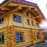 A photograph of a Hand Crafted Western Red Cedar Log Home built by Lake Country Log Homes in British Columbia Canada and shipped to Austria.