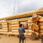 Hand Crafted Western Red Cedar Log Cabin Home Under Construction at our yard in British Columba for delivery to Alberta