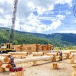 Hand Crafted Western Red Cedar Log Cabin Home under construction at our yard in British Columba for delivery to Colorado
