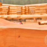 Hand Crafted Western Red Cedar Log Beam at our yard in British Columbia