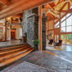 Great Room in a Handcrafted Post and Beam Log Home