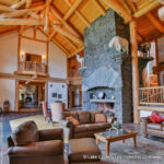 Great Room in a Handcrafted Log Post and Beam Home
