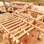 Western Red Cedar Log Home under Construction at Log Yard in British Columbia