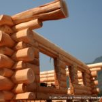 Handcrafted Western Red Cedar Log Home with Staggered Ends at Log Walls - LCLH