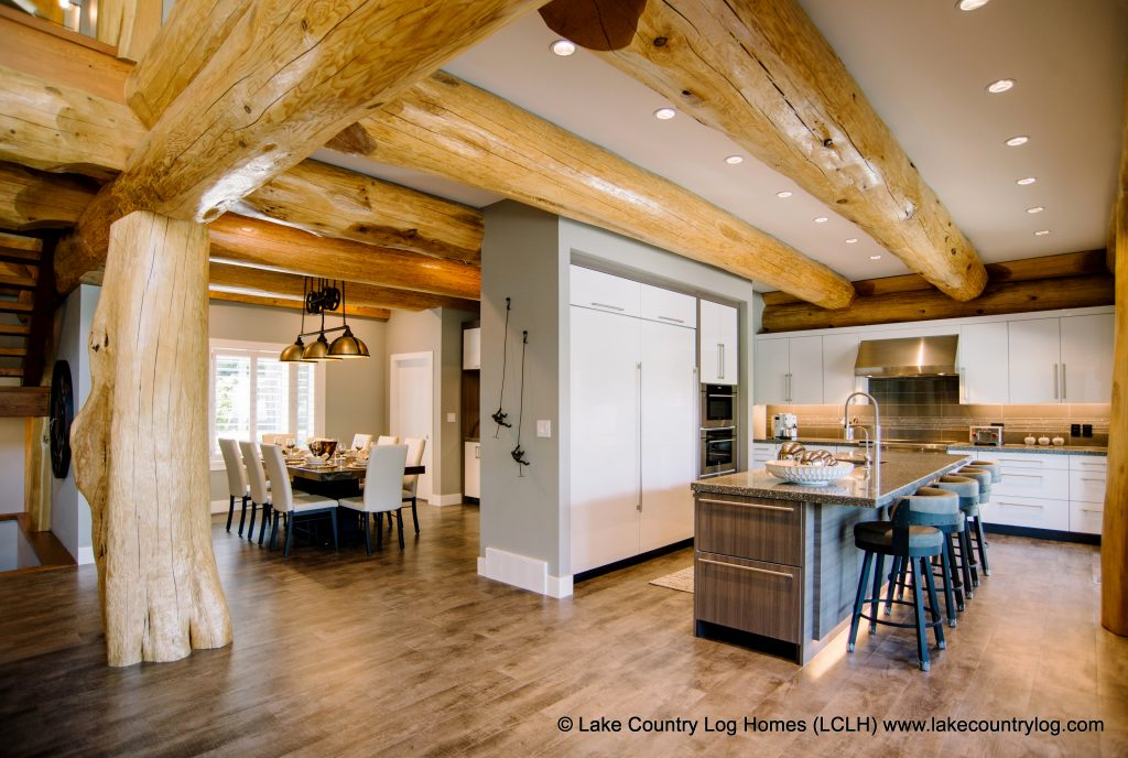 interior photos of log and timber frame homes