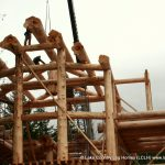 Setting up a Large Handcrafted Western Red Cedar Post and Beam Cabin