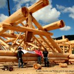 Impressive hand crafted log roof work including Western Red Cedar trusses, rafters and beams.