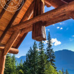 Post and Beam Covered Deck with Log Truss - British Columbia