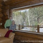 Tim and Mary Forsythe in their custom Western Red Cedar Log Cabin Home