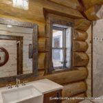 Western Red Cedar Log Cabin Home Bathroom