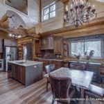 Western Red Cedar Log Cabin Home Kitchen / Dining Room built in Colorado