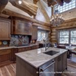 Western Red Cedar Log Cabin Home Kitchen built in Colorado