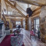 Western Red Cedar Log Home Living Room built in Colorado