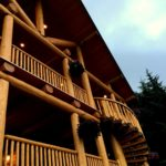 Western Red Cedar Covered Decks with Spiral Log Stairs at Queen Charlotte Lodge BC - LCLH