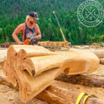 Western Red Cedar Handcrafted Log Home During Construction