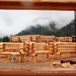 Western Red Cedar Log Cabin Home Under Construction at Our Yard in British Columbia 11-11-19