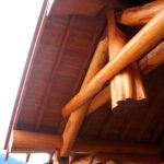 Western Red Cedar Log Covered Deck with Log Truss and Timber Rafters