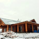 Western Red Cedar Log Home during site construction - LCLH