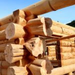 Handcrafted Western Red Cedar Log Walls with Flared Character Butts built at our Log Yard in British Columbia