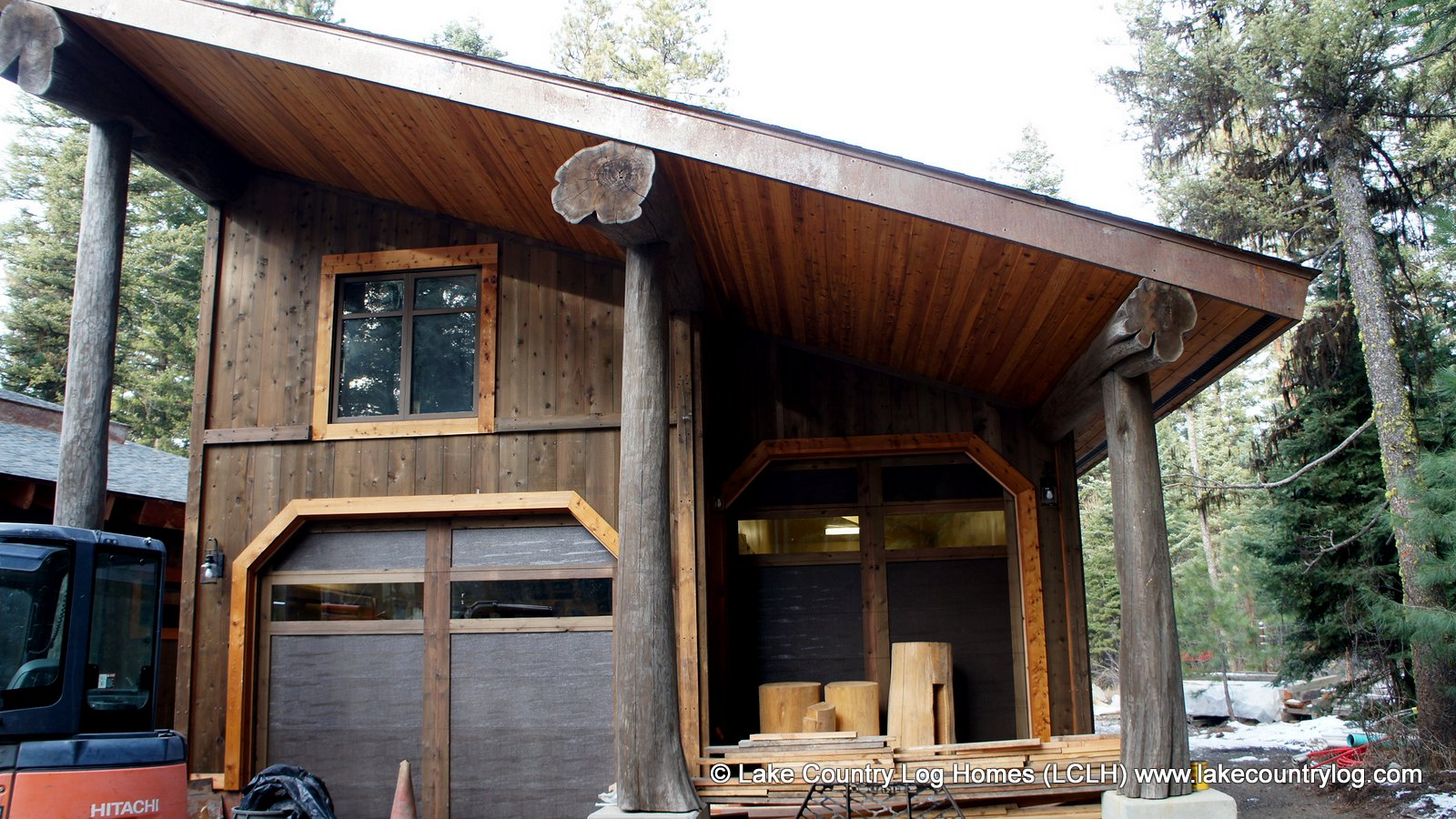Western Red Cedar Log Post and Beam Shop During Site Construction